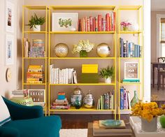 I love bright bookcases styled with bright things, but I hate dusting. Meh. Glass doors with very thin edges?