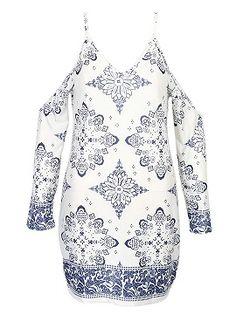 Shop Color Block V-neck Tile Print Cold Shoulder Cami Dress from choies.com .Free shipping Worldwide.$14.9