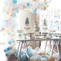 WEBSTA @ cakesbyjoannecharmand - Sooo much fun setting up today for Zayns christening Love this colour combo #cakesbyjoannecharmand #cupcakes #dessertbuffet #cakelife #desserstylist #balloonart #partystylist #christening #ballooncrazy #elegantEvent planning/ styling, props desserts and cakes @cakesbyjoannecharmand Balloon art @floating.designs Strawberry snd macaron tower @the.sugar.co Cake topper @littleeventboutique