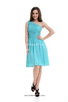 Sweetheart Chiffon Bridesmaid Dress Blush Knee Length One Shoulder Dress