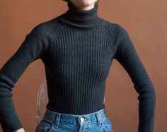gray ribbed wool turtleneck sweater / fitted by persephonevintage