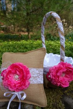 Burlap flower girl basket and ringbearer by Tickleberrycottage, $56.00