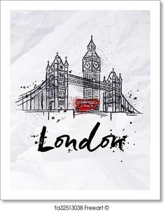 Free art print of Poster London. Poster London skyscrapers Tower Bridge and Big Ben drawing in vintage style with drops and splashes on crumpled paper London Poster, London Art, London Food, London Street, Big Ben London, Big Ben Tattoo, Bridge Drawing, London Drawing, London Painting