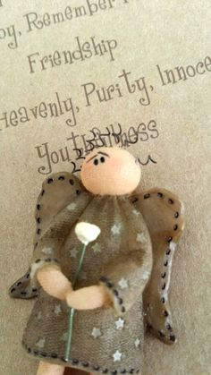 """HONEY & ME Angel Pin white Rose, """"Purity and Innocence"""" Primitive #NaivePrimitive"""