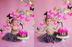 butterfly backdrop one year cake smash photo shoot Naomi BLuth Photography