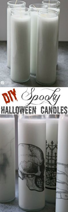 How to Make Spooky Halloween Candles   Make simple Halloween Decor in minutes! Easy Halloween Table Centerpiece from TodaysCreativeLife.com