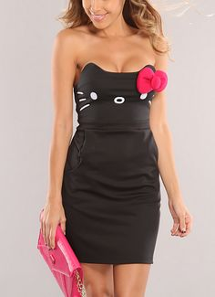 Black Hello Kitty Bow Accent Sexy Dress on Chiq http://www.chiq.com/black-hello-kitty-bow-accent-sexy-dress