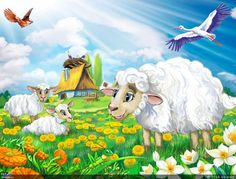 """Illustration for a children's book of poems about animals, publishing """"Belkar-book. Animal Pictures, Cute Pictures, Farm Animals, Cute Animals, Animal Poems, Cute Lamb, Book Of Poems, Farm Barn, Vintage Easter"""