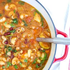Homemade Minestrone Soup Recipe Soups with small pasta, olive oil, onions, garlic cloves, celery ribs, medium carrot, marinara sauce, vegetable broth, diced tomatoes, bay leaves, basil, thyme, oregano, rosemary, salt, pepper, parmesan cheese, frozen green beans, zucchini, red kidney beans, white beans, fresh spinach, flat leaf parsley, basil, grated parmesan cheese