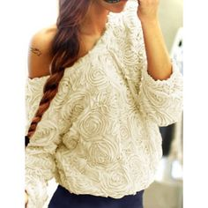 Sweet Boat Neck Solid Color 3D Rose Shape Long Sleeve Chiffon Blouse For Women