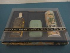 VINTAGE ELIZABETH ARDEN BLUE GRASS SET - COLGNE, DUSTING POWDER, SOAP - UNUSED