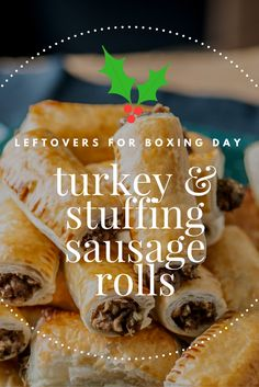 A creative take on a sausage roll recipe using turkey and stuffing as the filling. Perfect for leftovers on Boxing Day or after American Thanksgiving Christmas Buffet, Christmas Party Food, Xmas Food, Christmas Cooking, Christmas Treats, Christmas Nibbles, Christmas Catering, Christmas Menus, Christmas Mantels