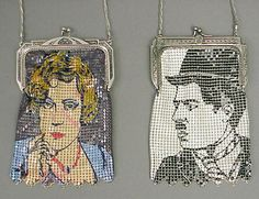 "Rare Marion Davies & Chaplin bags from the 1976 ""Heritage"" collection by Whiting & Davis."