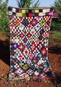 Authentic Handmade Moroccan Boucherouite Rug Carpet Berber 7 9 X 3 8