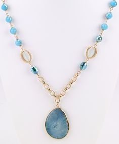 """Faceted aqua beadsin a shiny gold metal links with an aqua stone drop pendant long necklace. Dress it up, dress it down, you are your own stylist! 30"""" long, 3"""""""