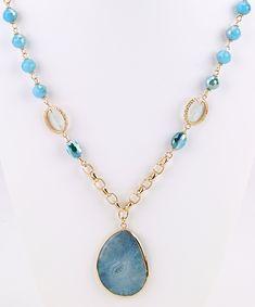 Stone Pendant Long Necklace - Aqua | Girl Intuitive