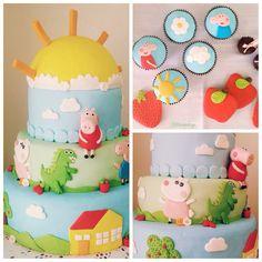 """Torta, cookies y cupcakes """"Peppa y amigos"""""""