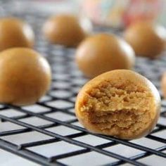 These creamy, satisfying peanut butter bites are made with wholesome ingredients and take just a few minutes of hands-on time to make. Cookie Dough Ball Recipe, Cookie Dough Recipes, Balls Recipe, Snack Recipes, Dessert Recipes, Keto Recipes, Ketogenic Recipes, Diabetic Recipes, Baking Recipes