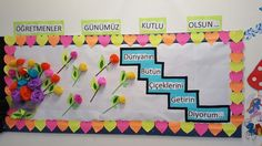 Öğretmenler günü panosu School Board Decoration, School Decorations, Bulletin Board Borders, School Bulletin Boards, Creative Activities For Kids, Crafts For Kids, School Projects, Projects To Try, Cardboard Tree
