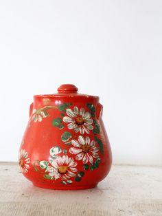 Vintage Cookie Jar / Painted Red Stoneware Jar. via Etsy.