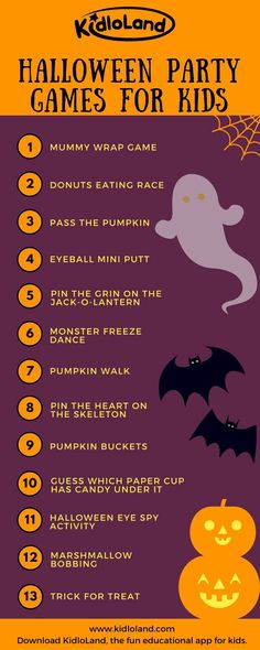 13 Fun Halloween Party Games For Kids Get ready for Check out games to be played. The post 13 Fun Halloween Party Games For Kids appeared first on Halloween Kids. Halloween Party Games, Halloween Tags, Theme Halloween, Halloween Dance, Kids Party Games, Halloween Birthday, Holidays Halloween, Halloween Cupcakes, Fun Games