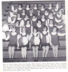 """CLICK ON IMAGE TO ENLARGE That's correct. There was once a Bluffton High School Pep Club. MY SISTER IN LAW!  Front & Center! ! Here's the club photo from 1967-68 school year, 46 athletic seasons ago. Identification of members is at the bottom of the photo. While this photo was taken in the """"old gym,"""" we need to point out that boys' basketball games during this era were played in Founders Hall."""