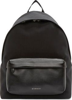 Givenchy / Black Neoprene & Leather Backpack
