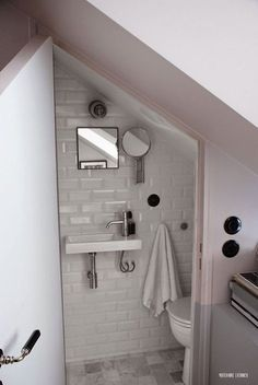 Amazing Attic renovation cost uk,Attic bathroom wall and Attic remodel to bedroom. Attic Renovation, Attic Remodel, Understairs Toilet, Bathroom Under Stairs, Under The Stairs Toilet, Basement Bathroom, Ideas Baños, Nook Ideas, Decor Ideas