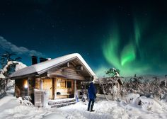 """Lapland's way to say good night - <a href=""""www.instagram.com/konstalinkola"""">@konstalinkola on Instagram</a> For two years me and my family have headed to Finnish Lapland during midwinter, the darkest time of the year for our already traditional ski tour. This photo is from Pallas-Yllästunturi National Park, where we made our own tracks, barely see another living soul for a week and sleep in cozy wilderness huts and tents. I was just done with the sauna and then the northern lights…"""