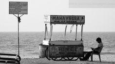 Ice-cream seller on a beach in Gokarn, Karnataka, India