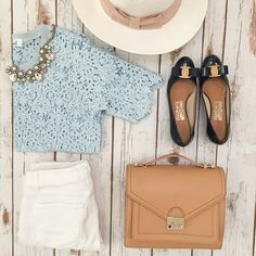 lace top + white jeans + statement necklace + small bag + flats + hat