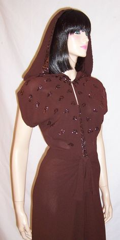 A #Vintage #Vixen 1940's Brown Crepe Sequined Dress with Hood