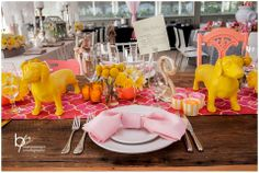 Farm Table with Yellow Decor and Pink Napkins, Rustic meets Modern by Renee Landry Events at Sanderling