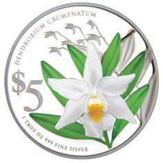 Dendrobium Crumenatum 1 oz 999 Fine Silver Proof Colour Coin