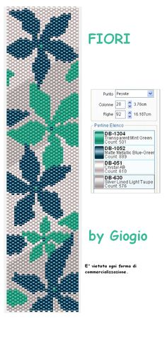 """GioGio: Griglie/pattern peyote   This would be stunning with a dark background, light colored """"leaves"""""""