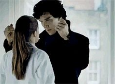 Pop the collar, ruffle the hair and go in for the killing kiss... Sherlock & Molly, gif.