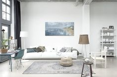 white grey beige / scandinavian minimalism / windows tall ceiling / living room / details decor