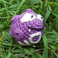 Koffing only has eyes to sew on, the rest is crocheted directly onto his body. I decided to make his mouth closed but he would be adorable with an open mouth too! He'd be awesome to leave at Pokestops!
