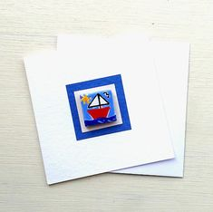 Sailing Boat Card, Nautical Card, Magnet Card, Boat Greeting Card, Blank Card, Maritime, Nautical Cards, Cellophane Wrap, Sailing Boat, Boat Design, Blank Cards, Mosaic Tiles, More Fun, Magnets, Cool Designs