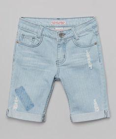 Another great find on #zulily! Light Denim Patchwork Bermuda Shorts - Girls by Crystal Vogue #zulilyfinds