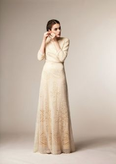 Modest white dress with sleeves by A La Russe