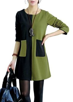 Long Sleeve Green and Black Patchwork Dress | lulugal.com