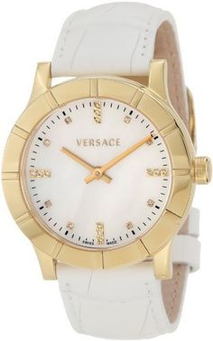 Versace Women's 78Q70SD498 S001 Acron Lady Diamond Watch Versace. $1104.10. Polished yellow gold case. 50 meters water resistant; Sapphire crystal. Water-resistant to 165 feet (50 M). White Mother-Of-Pearl dial. 20 diamonds on dial