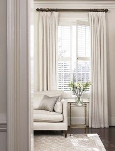 I love this room! // This rug // Combining plantation shutters with curtains privacy cosiness warmth Curtains With Plantation Shutters, Window Shutters, Curtains With Blinds, Beige Curtains, Tall Curtains, Blinds Diy, Patio Blinds, Layered Curtains, Windows