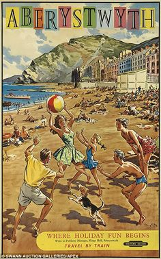 Vintage railway posters of UK seaside destinations - Aberystwyth