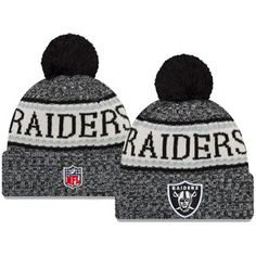 c4d4edccdde New Era Oakland Raiders On Field 2018 Sport Pom Winter Knit Hat (Black)
