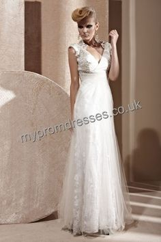 Floor Length Off-the-shoulder White Tulle A-line Evening Dress  http://www.mypromdresses.co.uk