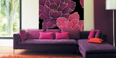 Purple, pink and red living room decor Pink Living Room Designs - Black and white interior design living room Red Living Room Decor, Colourful Living Room, Living Room Designs, Living Rooms, Living Area, Purple Sofa, Purple Rooms, Purple Fabric, Pink Purple