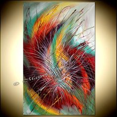 OVERSIZED LARGE Painting red Teal Turquise ABSTRACT art Modern Artwork Original Deco Textured Acrylic canvas large artwork