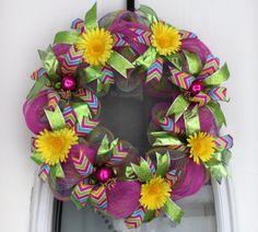 Slim Spring/Summer Deco Mesh Wreath